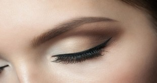 Closeup of beautiful woman eye with makeup, closed eyes